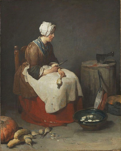 Woman peeling turnips