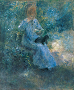 Young Girl Reading in a Garden, a Dog on her Lap