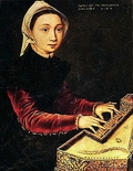 Young woman playing a virginal