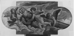 Zwei Engel mit Waffen und Mauerbrechern