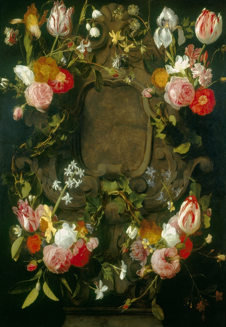 A Cartouche Embellished with a Garland of Flowers