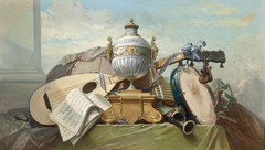 A Lute, a Tambourine, a Panpipe, a Clarinet, a Drum, a Score of music, and an Urn on a Plinth, on a Draped Ledge
