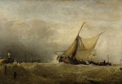 A Seapiece, with a Dutch Fishing Boat coming in, and Men of War in the Distance