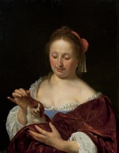 A Woman Pulling a Dog's Ear (Portrait of the Artist's Wife, Cunera van der Cock)