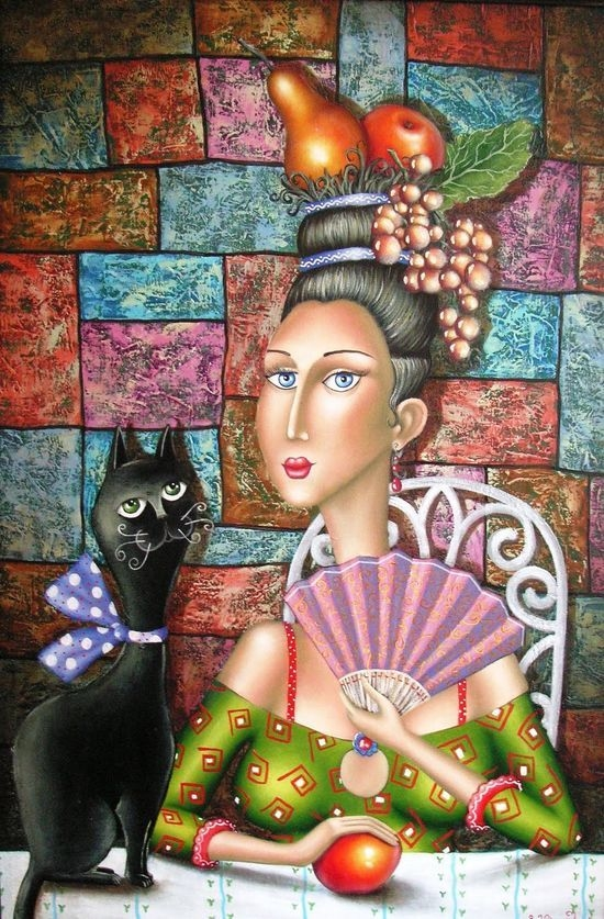 A woman with a cat