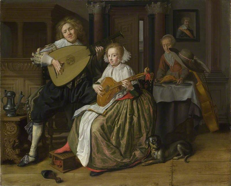 A Young Man and Woman making Music
