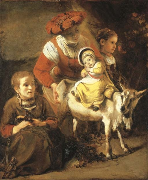 A young Woman with a Child riding on a Goat