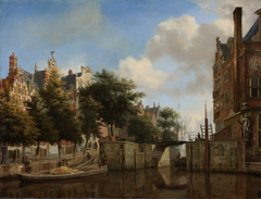 Amsterdam City View with Houses on the Herengracht and the old Haarlemmersluis