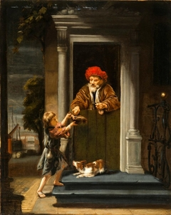 An Old Man Giving Alms to a Beggar