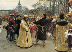 Arrival of the tsars Peter I and Ivan V