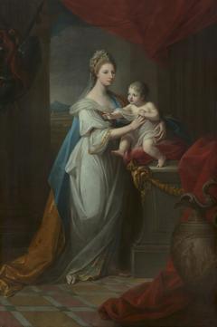 Augusta, Duchess of Brunswick, with her son