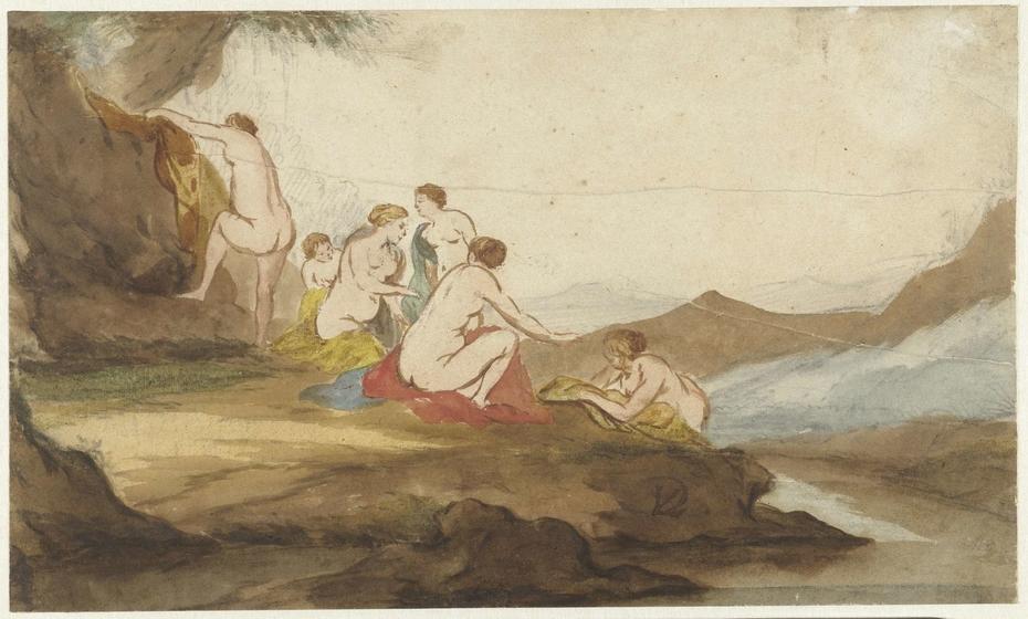 Badende vrouwen in een landschap