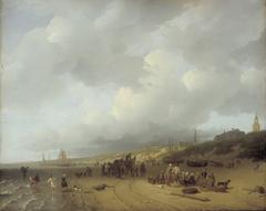 Boten met vissers op het strand bij Scheveningen