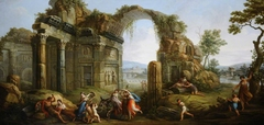 Capriccio of Figures dancing amongst Classical Ruins, with a Ruined Arch