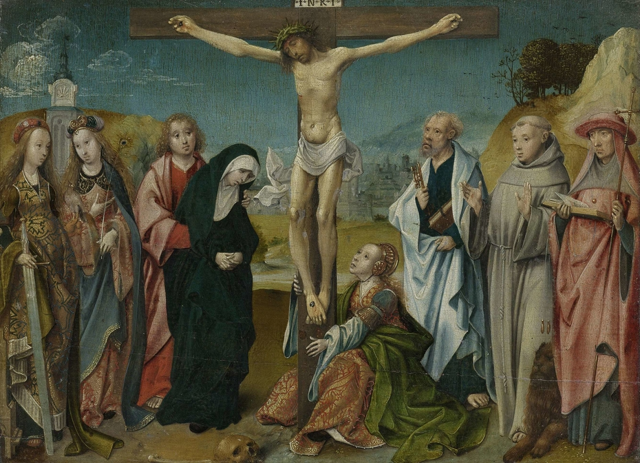 Christ on the Cross with the Virgin, Saint John, Mary Magdalene and Saints Cecilia and Barbara (left) and Peter, Francis and Jerome (right)