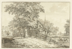 Dorpsgezicht met enkele personen op een brug