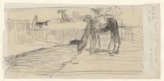Drinkende kamelen bij nederzetting