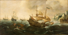 Dutch Ships sailing off a Rocky Shore