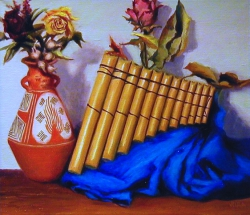 """""""El Musico II: Pipes of Pan"""" by Lydia Martin (18""""x22"""") oil on Belgian linen"""
