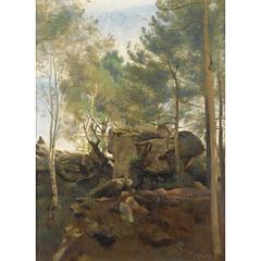 En forêt de Fontainebleau. Pins et bouleaux dans les rochers