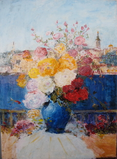 Flowers in Blue Vase and Belgrade