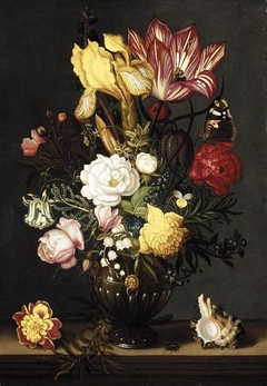 Flowers in a Decorated Vase with a Butterfly