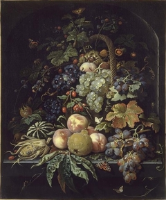 Fruit, Basket, Insects, and Butterflies against a Background of a Stone Niche