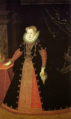 Full-length portrait of Anne of Austria (1573-1598).