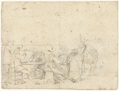 Gezelschap van drinkende, rokende en musicerende jongelui rond een tafel