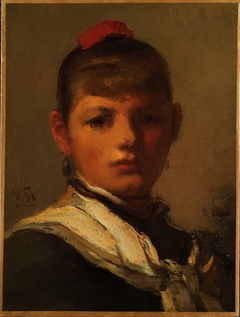 Girl with Red Hair Ribbon