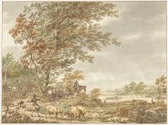 Heuvellandschap met varkenshoeder en andere stoffage, een rivier in de verte