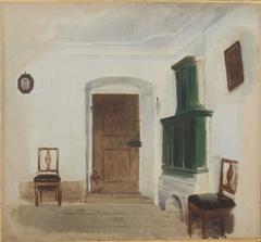 Interior with green ceramic stove