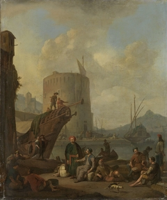 Italian Harbor with Fortress Tower (Port on the Mediterranean)