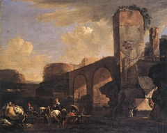 Italianate Landscape with a River and an Arched Bridge