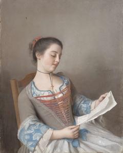 'La liseuse' (Marianne Lavergne, een nicht van de kunstenaar, in Lyonese plattelandskleding)