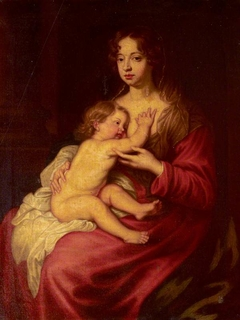 Lady Elizabeth Percy, Countess of Ogle, later Duchess of Somerset (1667-1722) and Algernon, later 7th Duke of Somerset (1684 - 1750) as 'Madonna and Child' (after Van Dyck)
