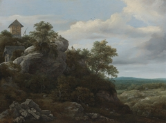Landscape with Houses on a Rocky Hill with a View of a Plain Beyond