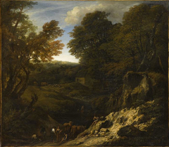 Landscape with shepherds and herds at the edge of a pond and near an illuminated Talus
