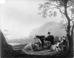 Landscape with Three Cows and Shepherds