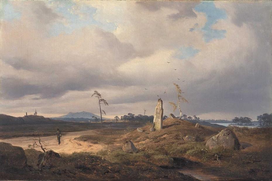 Landschaft mit Runenstein