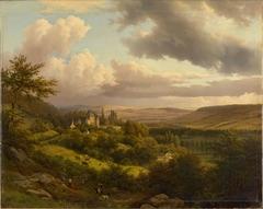 Luxemburgische Landschaft mit Blick auf Schloss Berg