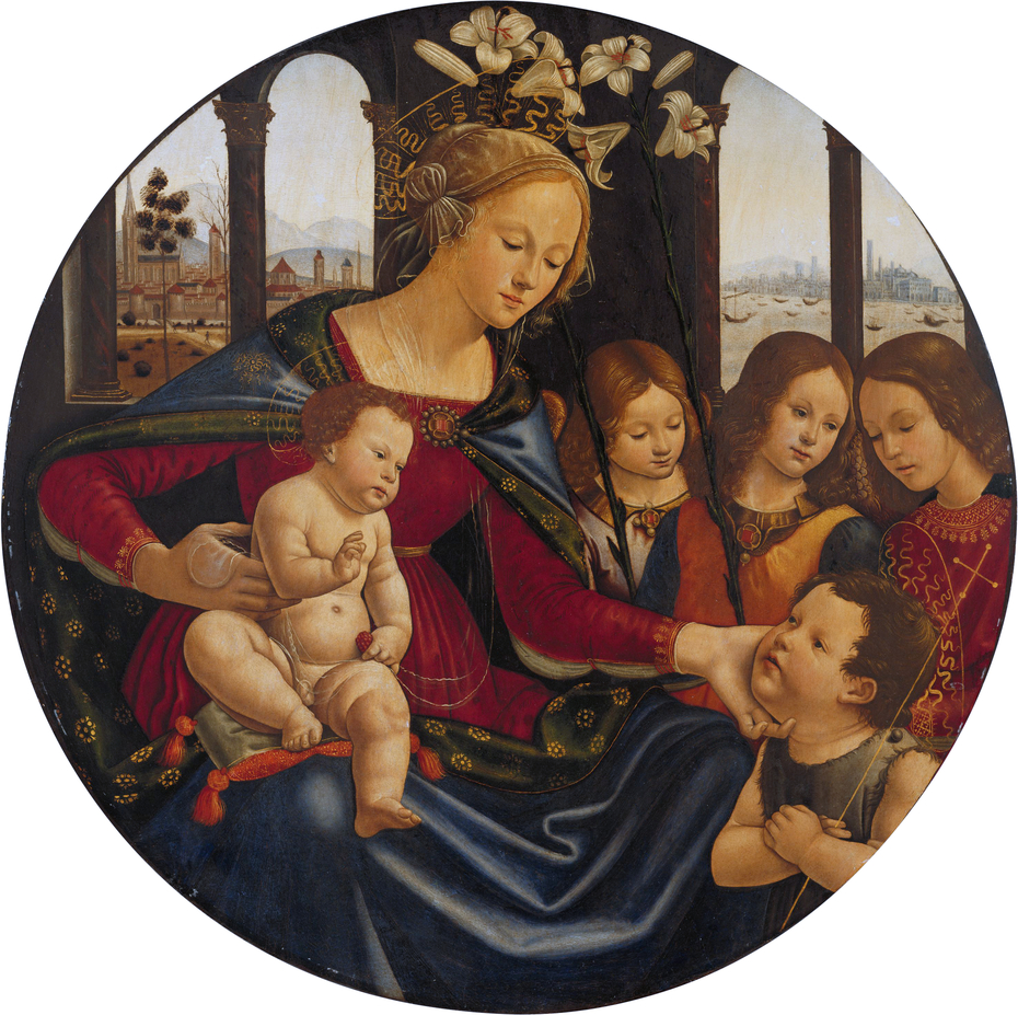 Madonna and Christ Child with Infant Saint John the Baptist and Three Angels