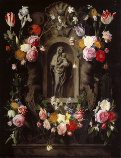 Madonna & Child Statuette in a Niche surrounded by a Garland of Flowers