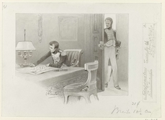 Ontwerp voor illustratie voor De Kolossus der Negentiende Eeuw door P.J. Andriessen (Textill., blz. 26); scène uit het leven van Napoleon, Interieur met Napoleon aan tafel