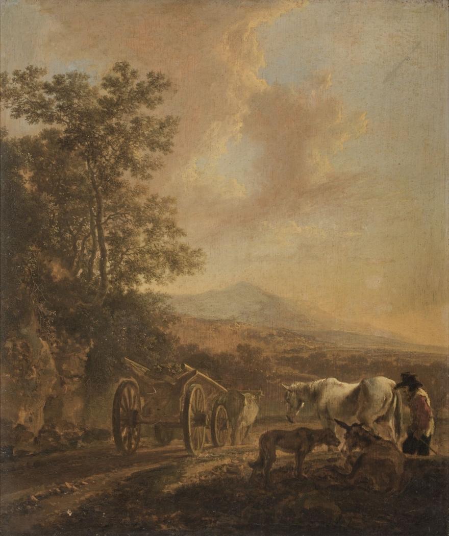 Ox-cart in an Italian Landscape