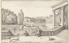 Parkgezicht met figuren en honden op een terras