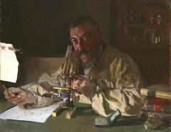 Portrait of  Dr Simarro at the Microscope