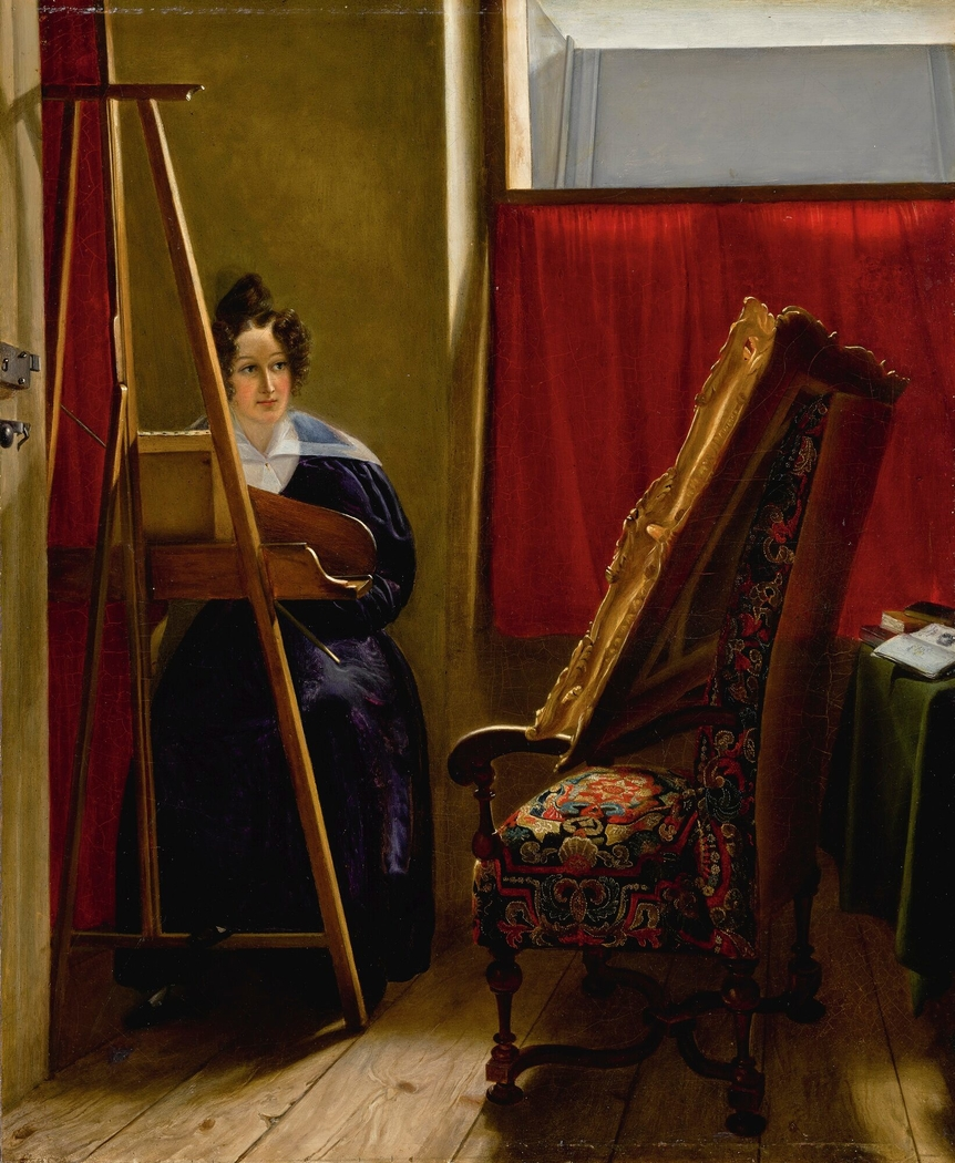 Portrait of the artist, seated at her easel
