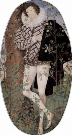 Porträt eines Jünglings unter Rosen, Oval. Robert Devereux, 2nd Earl of Essex ca. 1588. Paul Hammer: The Polarisation of Elizabethan Politics, Cambridge University Press, 1999, S. 69
