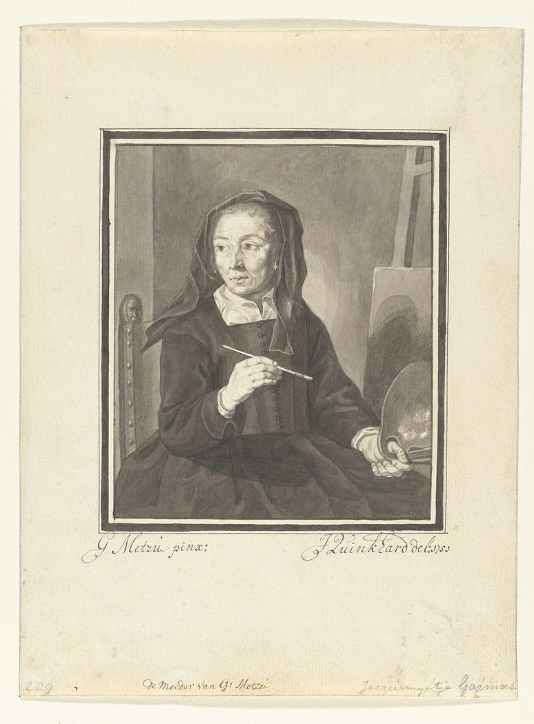 Portret van de moeder van Gabriël Metsu, schilderend